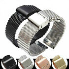 12mm-22mm Milanese Mesh Watch Band,Stainless Steel Hang Buckle Clasp Watch Strap image