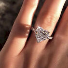 Women 925 Silver Ring Crystal Love Heart Shaped Ring Lady Gift Jewelry