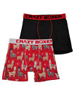Mens 2-Pack Red & Black Christmas Alpaca Holiday Underwear Boxer Briefs