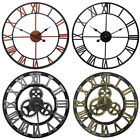 Modern Large Wall Clock 3D Hollow Mirror Roman Numerals Gear Round Home Decor