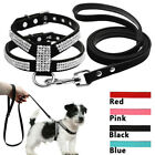 Bling Rhinestone Suede Leather Dog Harness and Leads Leash for Small Pet Puppy