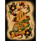Victory by Christopher Perrin Traditional Lion Tattoo Wood Framed Fine Art Print $249.95 USD on eBay