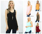 Womens Sleeveless T-Shirt Casual Basic Tunic TANK Top Long Loose Blouse S-3X