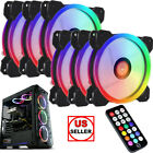 3/6 PACK RGB LED Quiet Computer Case PC Cooling Fan 120mm with Remote Control US