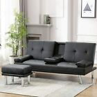 Sleeper Sofa Bed Convertible PU Leather Couch Futon Recliner Cup Holders Ottaman