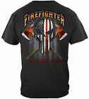 Firefighter T Shirt Thin Red Line American Flag Punisher Skull Tee S - 3XL image