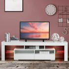 """63"""" High Gloss TV Stand Cabinet Console Unit Furniture with LED Shelve 2 Drawers"""