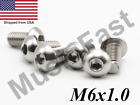 M6x1.0 Button Head Socket Cap Screw 8mm-40mm Stainless Steel Iso: 7380 A2 18-8