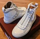 "$595 Mens Authentic Bally ""Hekem"" Croc Embossed High-Top Sneakers White US 9"