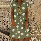 Womens Summer Casual Floral Dresses Ladies Boho V Neck Loose Holiday Midi Dress