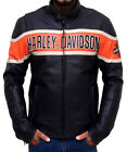 Men's Classic Black Leather Harley Davidson Victory Lane Motorcycle Jacket $109.99 USD on eBay