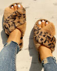 Womens Faux Fur Crossover Open Toe Sliders Slippers Ladies Warm Sandals Shoes UK