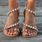 Womens Boho Floral Pearl Sandals Rhinestone Roman Gladiator Flat Lady Shoes