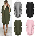 Women's Summer Plain Round Neck Pocket Dress Lady Casual Loose Long Tops Dresses