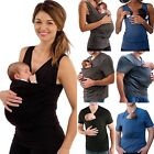 Womens Mens Summer Pure Color Baby Carrier Kangaroo Big Pocket Vest T Shirt Tops
