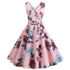 Womens Retro Floral Rockabilly Hepburn Dress 50s 60s Pinup Housewife Party Swing