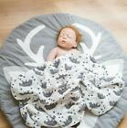 New Baby Round Crawling Blanket Cute Animal Soft Activity Play Mat Floor Rug
