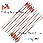 "30"" Feather Carbon Shaft Arrows  Hunting for Compound & Recurve Bow 6/12PCS"