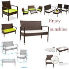 4pc Outdoor Rattan Patio Furniture Set Garden Table Sofa Chair W/cushion
