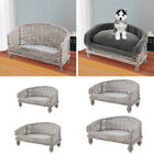 Handmade Wicker Woven Pet Sofa Couch Cat Dog Cushions Blankets Padded Bed Settee
