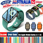 40mm 44mm Silicone Sports Iwatch Band Strap For Apple Watch Series 6 5 4 3 2 Se