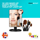16 Led Make-up Vanity Mirror Tabletop Light Up Touch Screen Cosmetic Bathroom Uk
