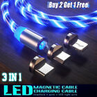 3 in 1 LED flowing Light Up Magnetic Fast Charger Cable For USB Type C iPhone US