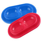 Dog Cat Double Bowl Puppy Food Water Feeder with Drip Tray