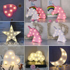3D Star Moon Animal Unicorn LED Night Light Up Wall Lamp Baby Kids Bedroom Decor