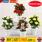 Realistic Artificial Rose Flowers Plants In Pot Outdoor Garden Office Home Decor