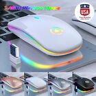 New Slim Wireless Mouse Silent USB Mice 2.4GHz Rechargeable RGB For PC Laptop