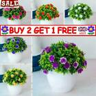 Artificial Potted Flowers Fake False Plants Outdoor Garden Home In Pot Decor Ttk
