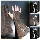 Medieval Gothic Steampunk Leather Bracer Bandage Gloves Cosplay Accessories