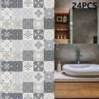 24pc Kitchen Tile Stickers Bathroom Mosaic Sticker Self-adhesive Wall Home Decor