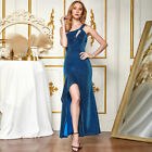 ANGEL FASHIONS Women One Shoulder Ruffles Split Long Prom Dress 504