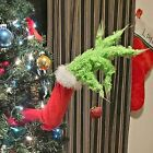 Grinch Christmas Decorations Furry Green Grinch Arm Ornament Holder Tree Sets