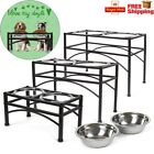 Double Bowl Dog Cat Feeder Elevated Raised Stand Feeding Food Water Pet Dish UK