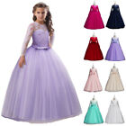 New Kids Flower Girls Princess Dress Long Sleeve Gown Bridesmaid Christams Party
