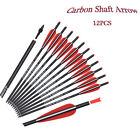 """16- 22"""" Archery Crossbow Bolts Carbon Arrows 8.8mm Hunting Screw-in Tips 12P"""