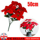 Artificial Poinsettia Flower Home Office Fake Flower Party Event Floral Decor
