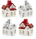 Christmas Light Up Battery Operated Ceramic House Led Decoration Red Silver Roof