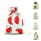 1/5pcs Gift Storage Handmade Linen Bag Package Travel Drawstring Pouch Cute