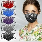 Women Crystal Glitter Rhinestone Print Sparkle Bling Reusable Face Mask Covering