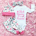 Newborn Toddler Baby Girl Romper Tops Pants Hats Jumpsuit Clothes Outfits Set