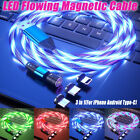 3 in 1 LED Glowing Flowing Magnetic Phone Charger Cable for Type C IOS Micro USB