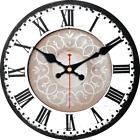 Meistar Home Decor 12 Inch Wooden Retro White Pattern Wall Clock,Classic French