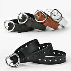 Women's Fashion Frosted Leather Belt Heart Shape Pin Buckle Designer PU Belts