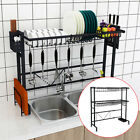 56/81.5CM Over Sink Dish Drying Rack Stainless Steel Kitchen Cutlery Shelf Hold