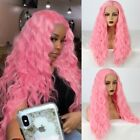 US 24inch Synthetic hair Glueless Lace front wigs Smoke Pink Full Head Straight