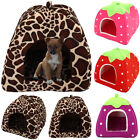 Pet Dog Cat House Cave Fleece Padded Bedding Puppy Warm Bed Igloo Washable Cave